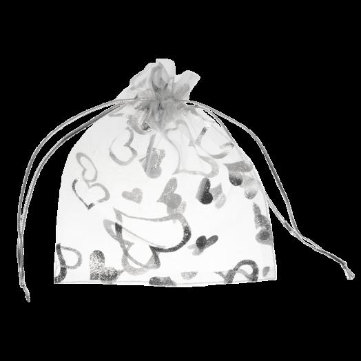 Organza Bags (13 x 18 cm) White & Silver (25 pcs)