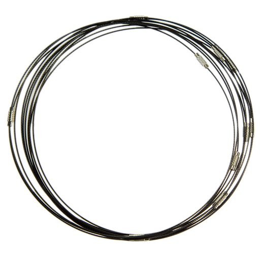 Wire Necklace with Barrel Clasps (50 cm) Black (10 pcs)