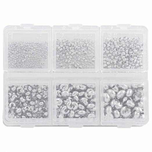 Advantage Package - Crimp beads and crimp bead covers (0.8 / 1 / 2 mm) Antique Silver