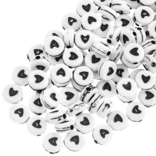 Acrylic Mix Letter Beads (7 x 3 mm) White (1400 pcs)