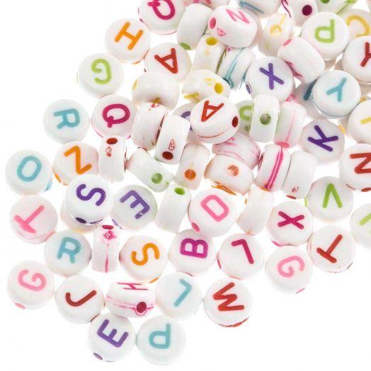 Acrylic Mix Letter Beads (7 x 3 mm) Mix Color (1400 pcs)