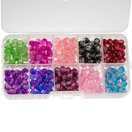 Advantage Package - Crackle Glass Beads (8 mm) Mix Color (200 pcs)