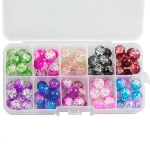 Advantage Package - Crackle Glass Beads (10 mm) Mix Color (100 pcs)