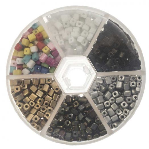 Advantage Package - Cube Glass Beads  (4 x 3 mm) 'Mix Color'