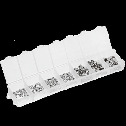Advantage Package - Endcaps (1 / 1,5 / 2 / 2,5 / 3,5 / 4,5 en 5 mm) Antique Silver (180 pcs)