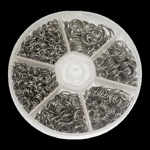 Advantage Package - Jump Ring (6 various sizes) Antique Silver (1600 pcs)