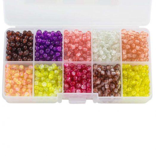 Advantage Package - Crackle Glass Beads (4 mm) Mix Color (1000 pcs)