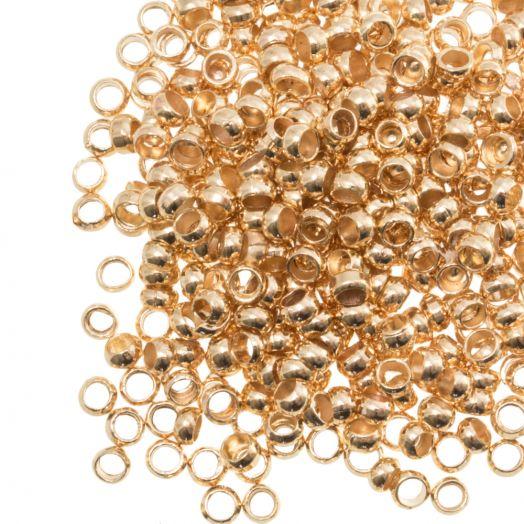 Crimp Beads (hole size 2.2 mm) Gold (100 pcs)