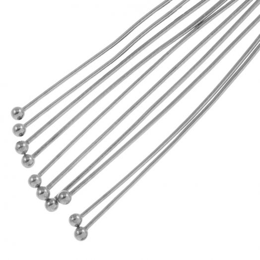 Stainless Steel Head Pins (40 mm) Antique Silver (50 pcs)