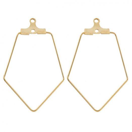 Stainless Steel Earring Frames (35 x 22 mm) Gold (6 pcs)