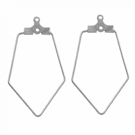 Stainless Steel Earring Frames (35 x 22 mm) Antique Silver (6 pcs)