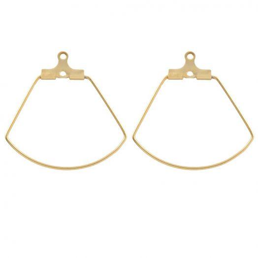 Stainless Steel Earring Frames (27 x 27 mm) Gold (6 pcs)
