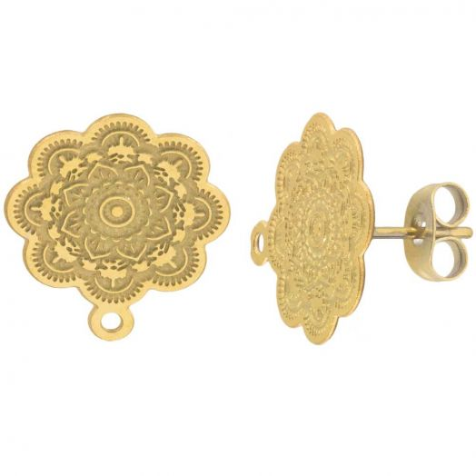 Stainless Steel Ear Studs (17 x 15 mm) Gold (4 pcs)