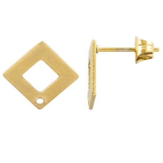 Stainless Steel Ear Studs (13 x 13 mm) Gold (4 pcs)