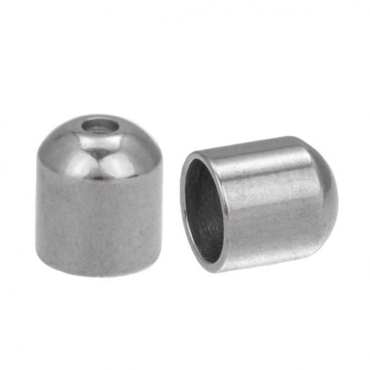 Stainless Steel Endcaps (hole size 5 mm) Antique Silver (10