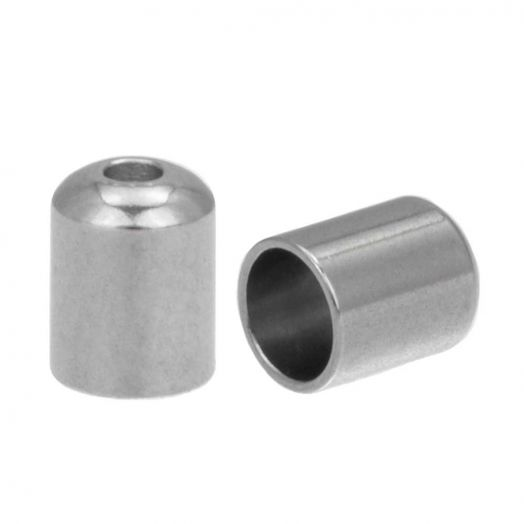 Stainless Steel Endcaps (hole size 4 mm) Antique Silver (10 pcs)