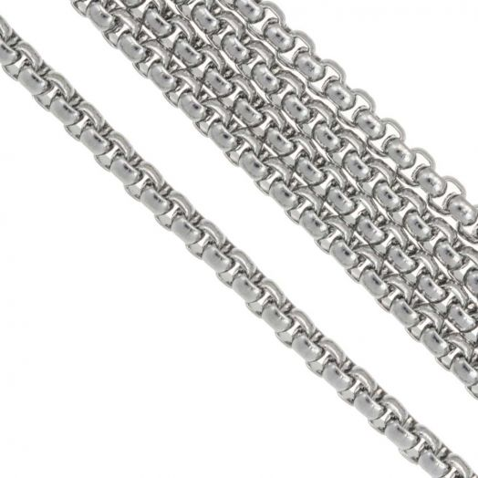 Stainless Steel Rolo Chain (3.5 x 3.5 mm) Antique Silver (2.5 Meter)