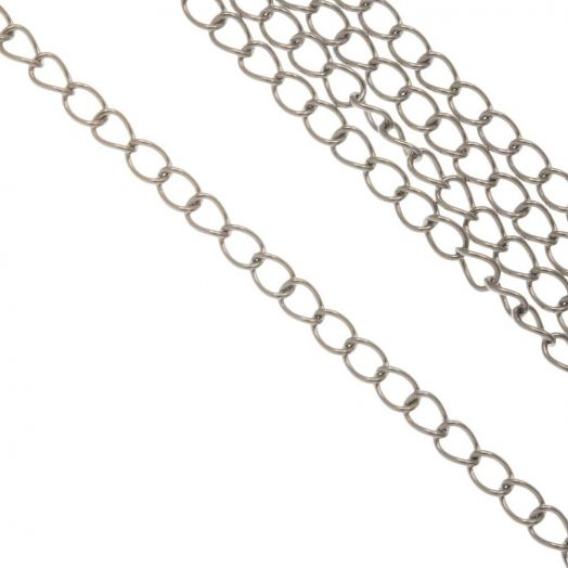 Stainless Steel Rolo Chain (3.5 x 2.5 x 0.5 mm) Antique Silver (10 Meter)