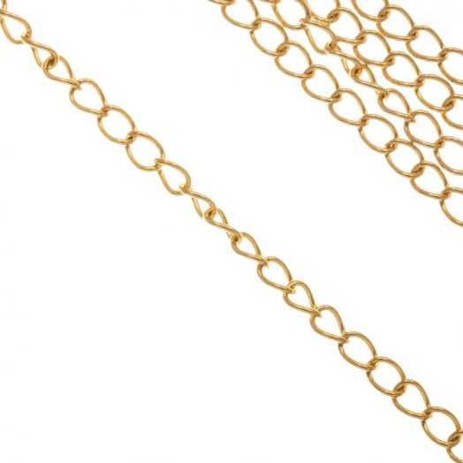 Stainless Steel Rolo Chain (3.5 x 2.5 x 0.5 mm) Gold (10 Meter)