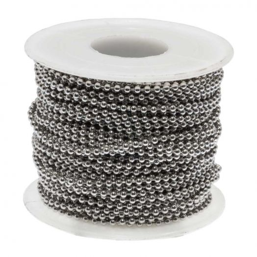 Stainless Steel Ball Chain (2.4 mm) Antique Silver (20 Meter)