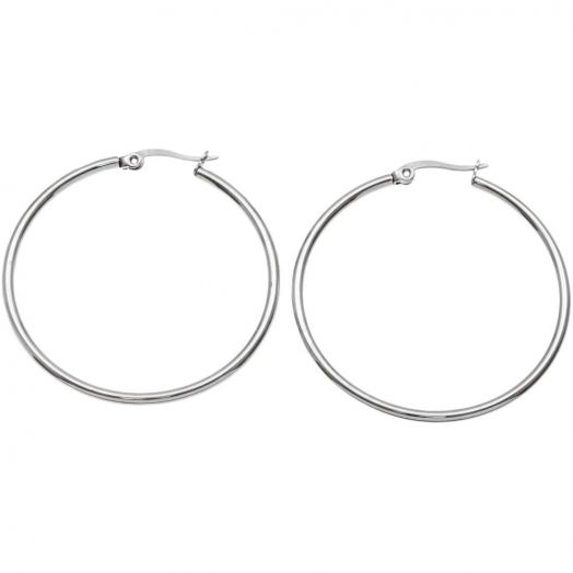 Stainless Steel Hoop Earrings (50 mm) Antique Silver (2 pcs)
