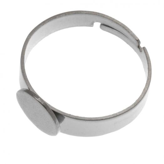 Stainless Steel Adjustable Ring (Tray 8 mm) Silver (5 pcs)