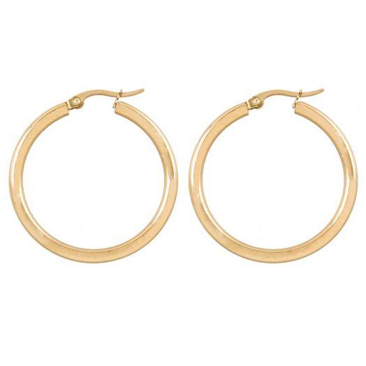 Stainless Steel Hoop Earrings (35 mm) Gold (2 pcs)