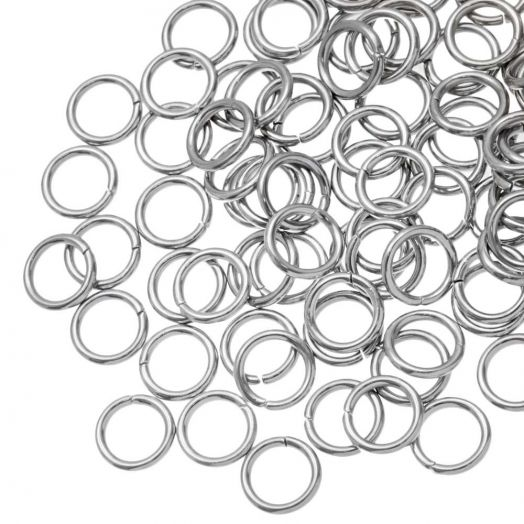 Stainless Steel Jump Rings (6 mm) Antique Silver (100 pcs) Thick 1.2 mm