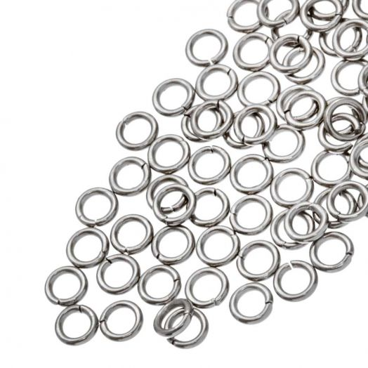 Stainless Steel Jump Rings (4 mm) Antique Silver (100 pcs) Thick 0.8 mm