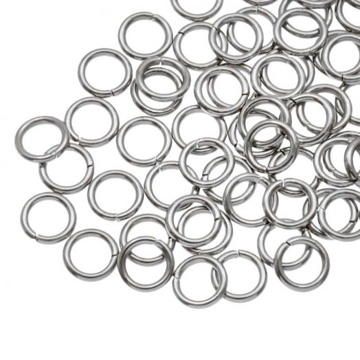 Stainless Steel Jump Rings (6 mm) Antique Silver (100 pcs) Thick 1 mm