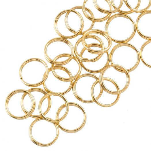 Stainless Steel Double Loops Split Rings (8 x 1.3 mm) Gold (100 pcs)
