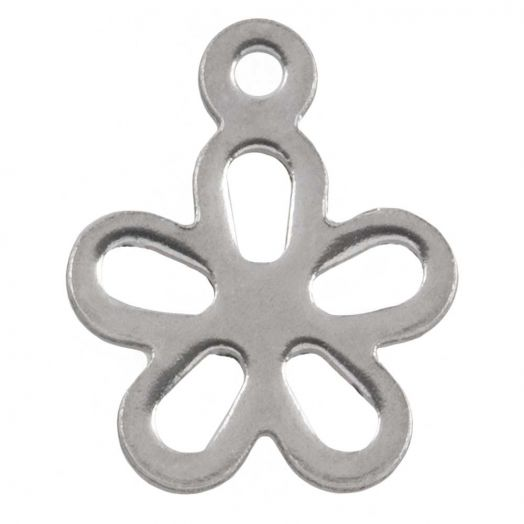 Stainless Steel Charm Flower (14 x 11.5 mm) Antique Silver (25 pcs)