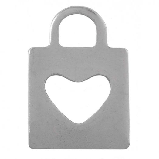 Stainless Steel Charm Heart (16 x 11 mm) Antique Silver (25 pcs)