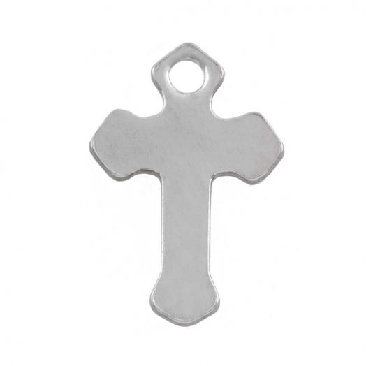 Stainless Steel Charm Cross (12 x 8.5 mm) Antique Silver (50 pcs)