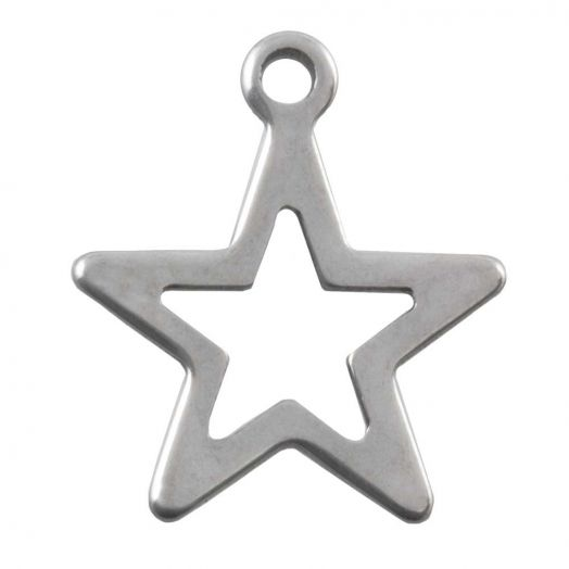Stainless Steel Charm Star (14 x 12 mm) Antique Silver (50 pcs)