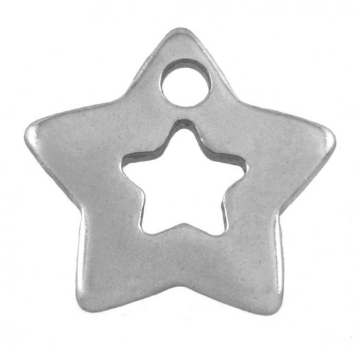Stainless Steel Charm (11 x 11 mm) Antique Silver (50 pcs)