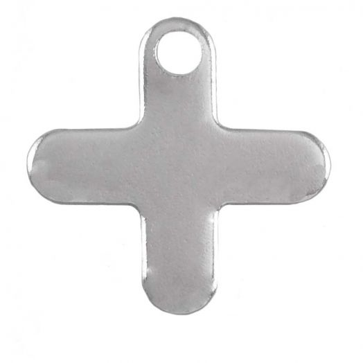 Stainless Steel Charm Cross  (12 x 12 mm) Antique Silver (50 pcs)