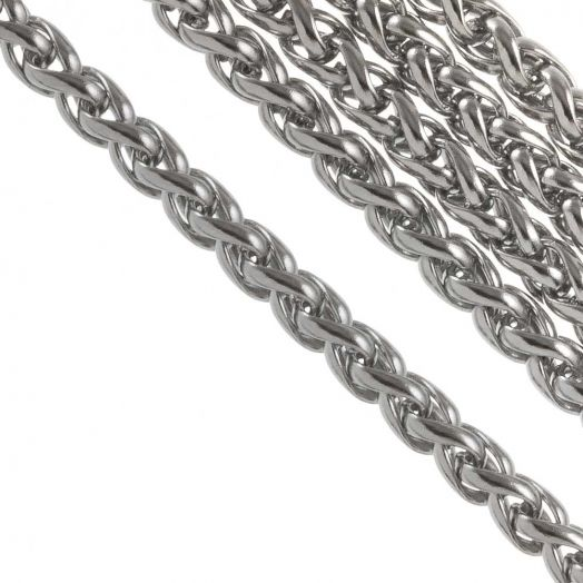 Stainless Steel Rolo Chain (8 x 6 mm) Antique Silver (2.5 Meter)