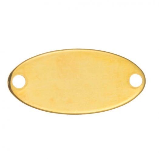Stainless Steel Charm Oval (17 x 8 mm) Gold (10 pcs)